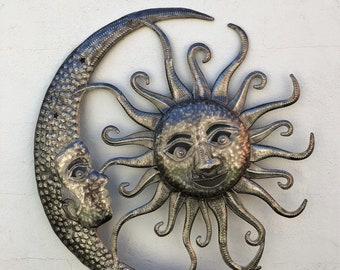 """Sun and Moon Celestial Pair Haitian Wall Art 23""""x23"""""""