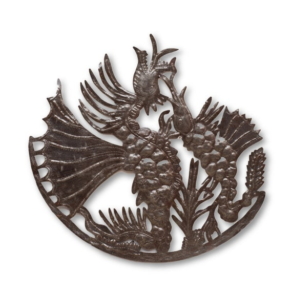 Ancient Fighting Dragon, Handcrafted Haitian Metal Art, Limited Edition 22x21.5