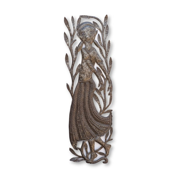 Dancing Haitian Woman, Handcrafted Haiti Sculpture Made From Recycled Metal 11x35