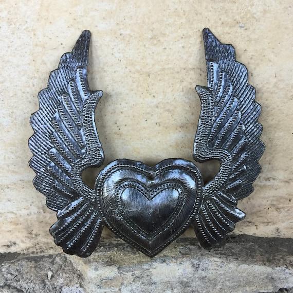 Heart with Wings, Metal Wall Art, Angel wings, Haiti Art, Flying Heart, Tattoo Art, Winged Heart, ornamental, gift tags