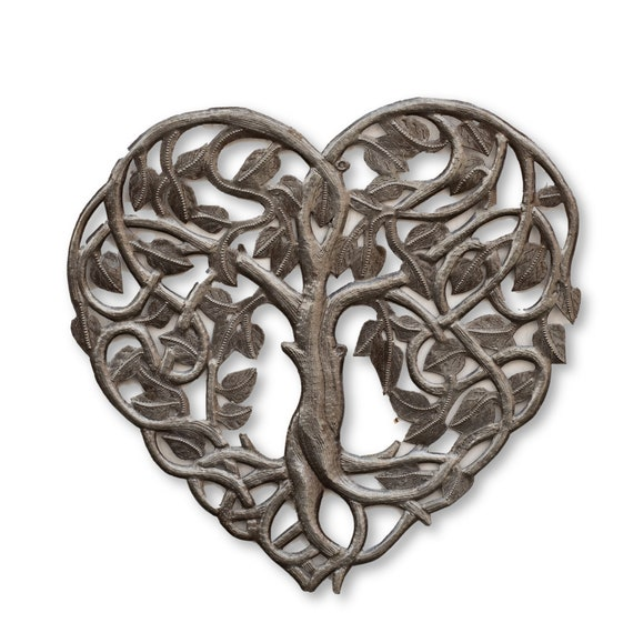 Heart Shaped Tree of Life Handcrafted in Haiti for Indoor/Outdoor Home Decor, 14.25x14.25