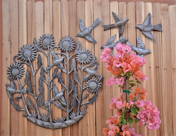 "Sunflowers and birds, Intricate detail sculpture from Haiti, Inside and outside home decor 23"" x 23"""
