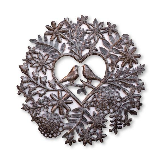 Haitian Metal Sculpture, Love Birds in the Garden, Handmade One-of-a-Kind Home Decor 23.5x23in.