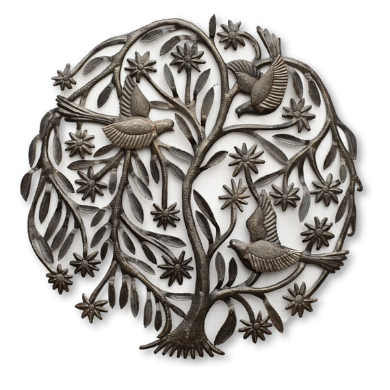 Thin Tree of Life w/ Flying Birds, One-of-a-Kind Haitian Metal Art, 21x21
