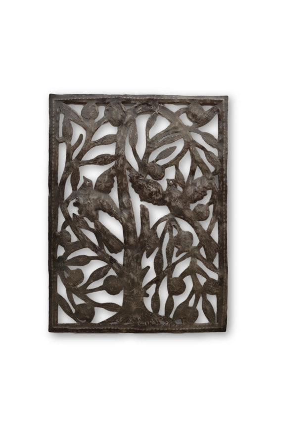 Framed Birds & Tree,  Reclaimed Quality Metal Sculpture, One-of-a-Kind Art 20 x 15