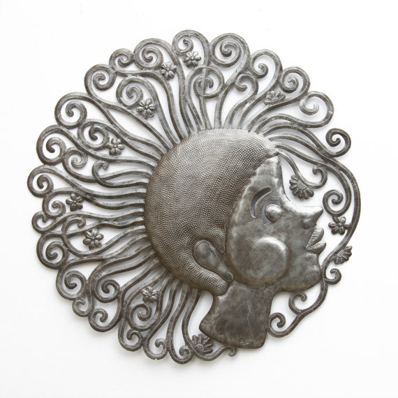 Floral Girl Handmade in Haiti From Recycled Metal Art, Limited Edition 23.5x23.5