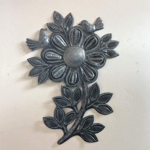"Garden Sunflower, Reclaimed Metal Garden Decor, 9"" x 13"""