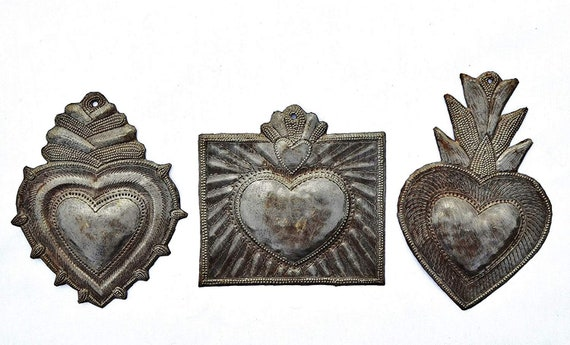 "Hearts (Set of 3) Sacred, Small Decorative Milagro Charms, Worry Heart, Take Your Worry Away, Haiti Metal Art 4"" x 6"","