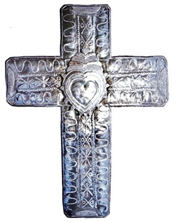"Large metal cross, Haitian Unique Art, Cross with 3-D Heart, Eco-friendly  14"" X 19"""