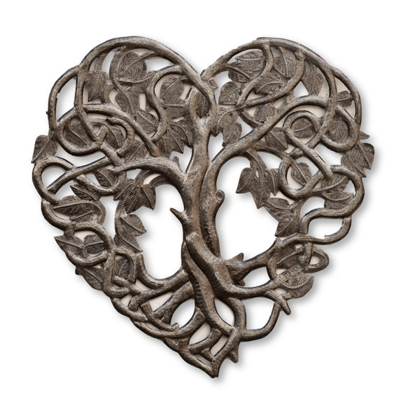 "Heart Shaped Tree of Life Metal Wall Art, Contemporary Steel Artwork Decor, Celtic Family 16"" X 16"""