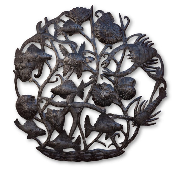 Under the Sea Aquarium, Nautical Reclaimed Metal Art, One-of-a-Kind 23x23