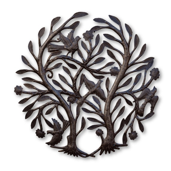 Intertwined Tree of Life, Quality Haitian Garden Decor, One-of-a-Kind 22x22