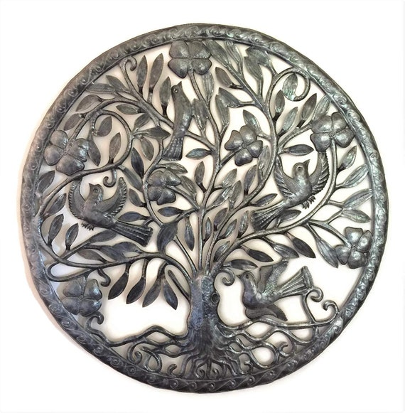 New Large Tree of Life, Metal Wall Art, Hang Indoor or Outdoor, Handmade in Haiti by Julio Balan, 32 in. x 32 in.