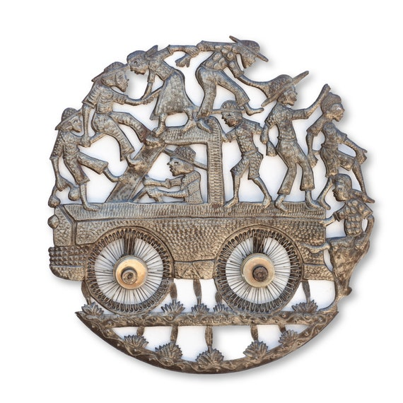 Tapping Tap Tap Truck in Haiti, One-of-a-Kind Handcrafted Metal Art 23.5x23.5