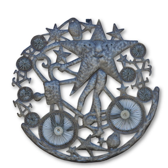 Universe & Bikes, Quality Handcrafted Haitian Metal Sculpture, One-of-a-Kind 23x23.5