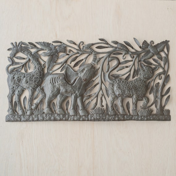 Safari in Haiti Large Metal Sculpture Handmade in Haiti, One-of-a-Kind 33x16