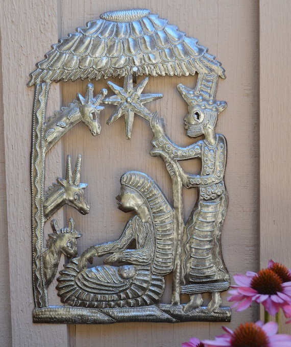 Nativity in the Stable Haiti, Christmas Holiday Fine Art Decor, Tropical Decorative artwork, Haitian Wall Hanging Art