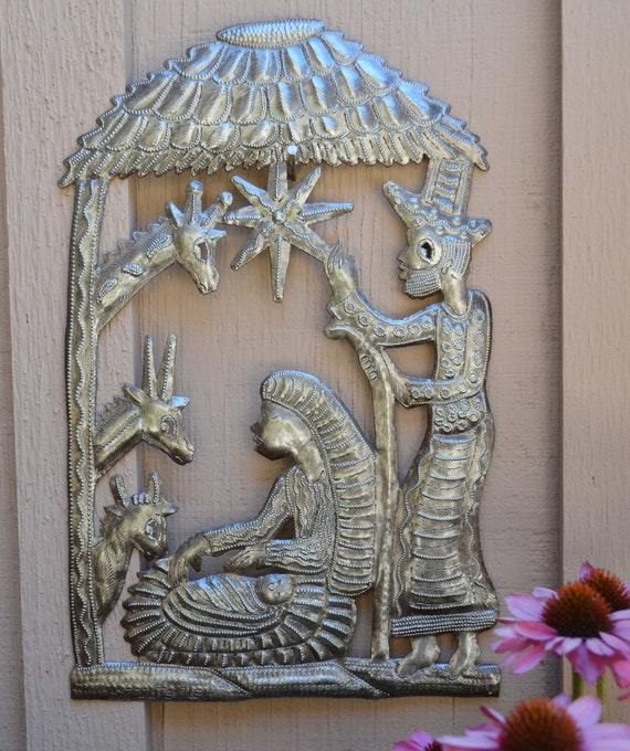 Nativity in the Stable Haiti, Christmas Holiday Fine Art Decor, Tropical Decorative artwork