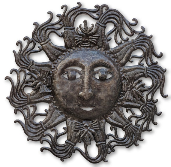 Sun with Bows, Quality Haitian Metal Sculpture, One-of-a-Kind 23x23