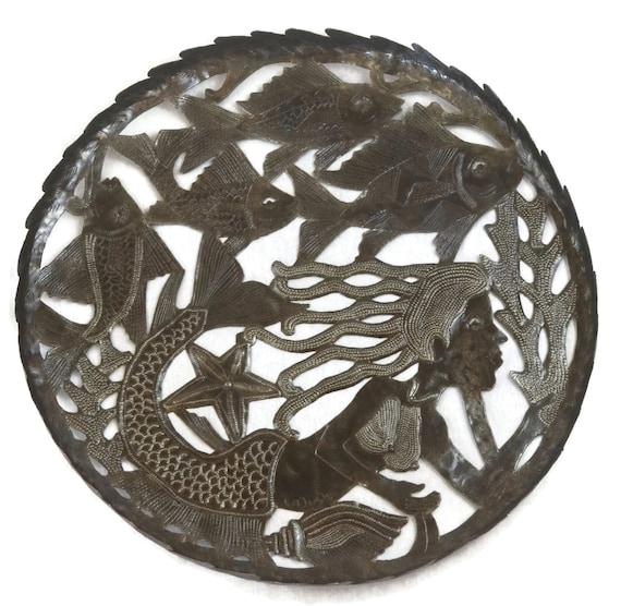 "Large Metal Bowl with Mermaid design Haiti Steel Drum Art, Fruit Bowl, 16.5"" X 16.5"""