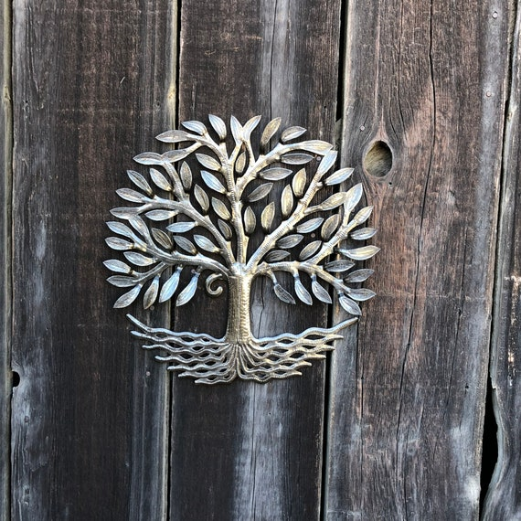 "New Small Tree of life, Farm House Metal Wall Art from Haiti, Festive Decor Display indoor or outdoor 17"" round"
