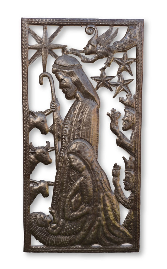Framed Nativity, Handcrafted Religious Decor, One-of-a-Kind Sculpture 17.5x34.5
