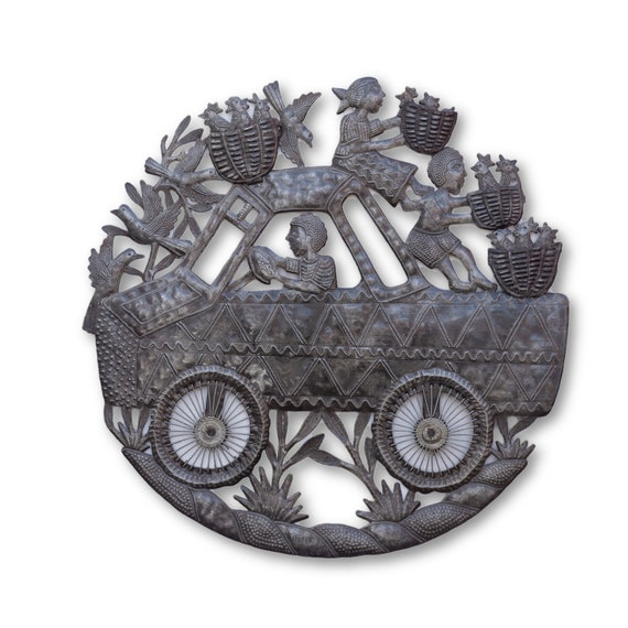 Tap Tap Truck w/ Chicken Farmers, Quality Handcrafted Haitian Metal Sculpture, Limited Edition 23x23