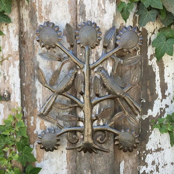 """Small Novelty tree with birds, Rustic Farmhouse decor, Eco-friendly Gift, Handmade in Haiti  11"""" x 13"""""""