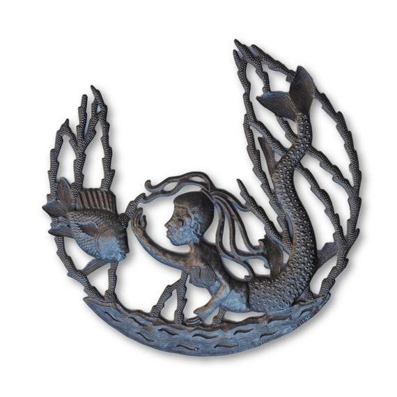 A Little Mermaid, Nautical Themed Haitian Metal Art, One-of-a-Kind 21.5x21.5