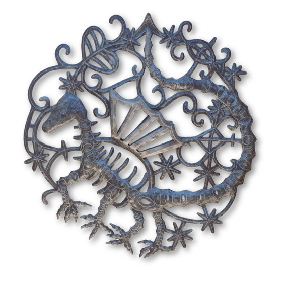 Skeleton Dragon, Mythical Wall Hanging Creature, Handmade in Haiti from Recycled Steel Barrels, One-of-a-Kind 23 x 22 Inches