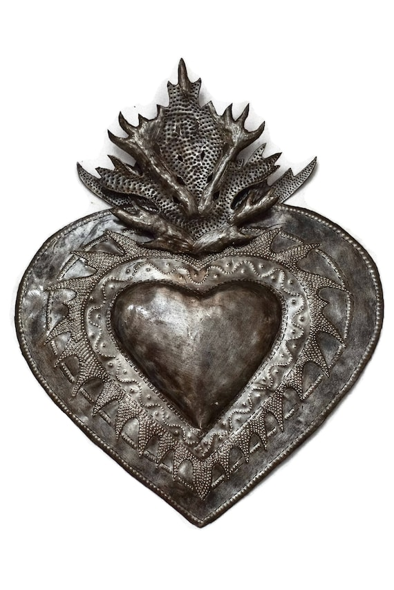 "Flaming Heart, Erzuli, Recycled Steel Art made in Haiti, Hand Cut in Haiti 13"" x 16"""