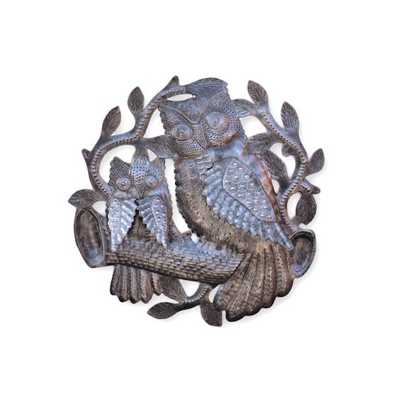 "Charming 3D Owls, Metal Wall Art, Handmade in Haiti, Steel Drum Decor, Rustic farmhouse decor,  11"" x 11"""