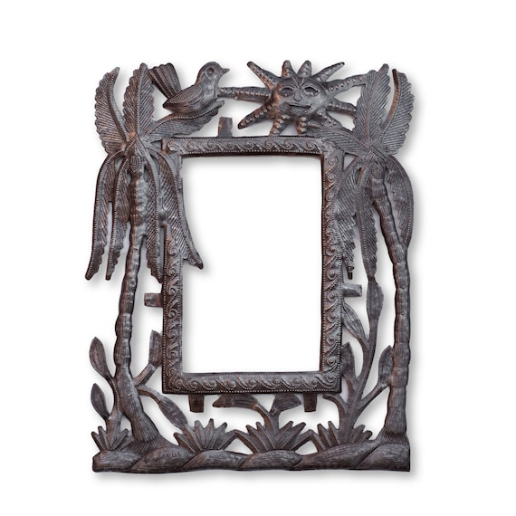 Haitian Metal Frame, Palm Tree Island Life, Limited Edition Handcrafted Sculpture 11x14in