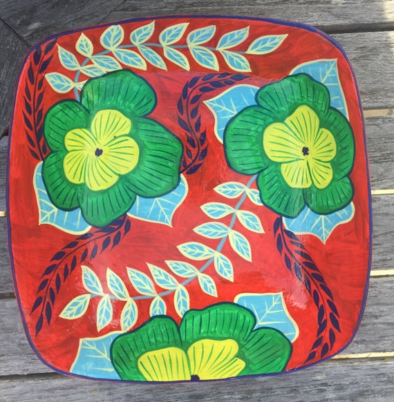 "Haitian Hand Painted Bowl (Square Large), Made from Paper Mache  9"" x 9"""