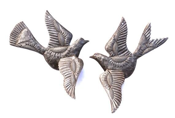 Garden Ornamental Birds  3-d Wings, Flock of birds, eco-friendly gift Recycled Steel Drum Art (Set of 2)
