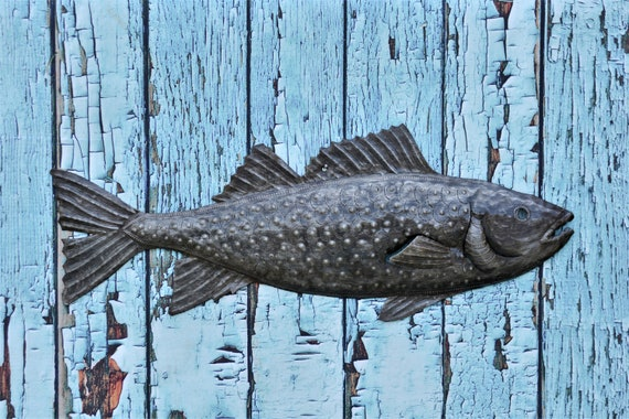 "Handmade Fish Under Water, Haiti Metal Art, Beach Home Living Decor  8.75"" x 22.5"""