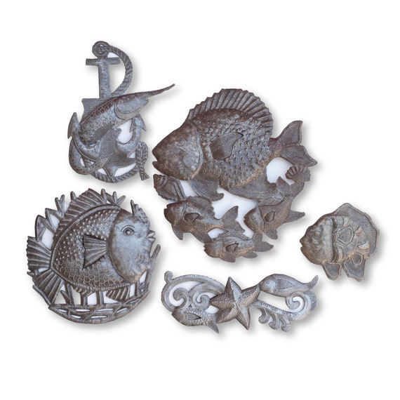 Sea Life Bundle, Handcrafted Haitian Sculptures Made From Recycled Metals
