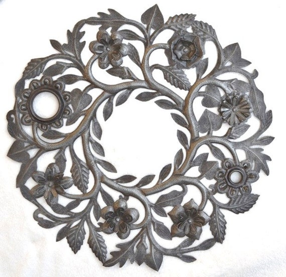 "Metal Wall Art, Garden Floral Wreath Handmade in Haiti of Recycled Steel 23"" x 23"""