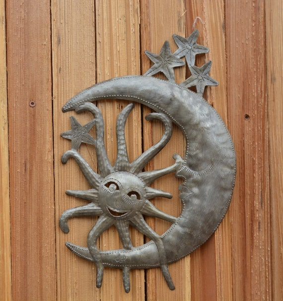 "Moon and Sun, Metal Wall art, Celestial Friends, Handmade in Haiti, indoor and outdoor  9"" X 13"""