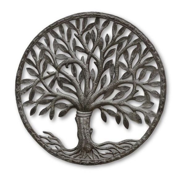 Framed Tree of Life, Quality Handcrafted Haitian Metal Sculpture, One-of-a-Kind 23.5x23.5