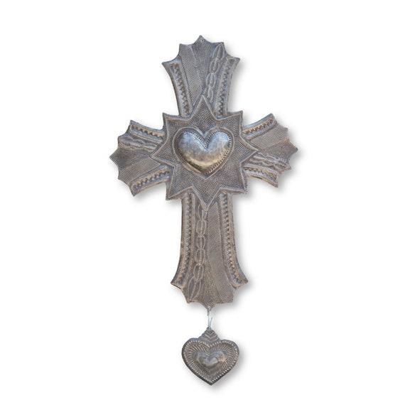 Bold Milagro Cross Handmade in Haiti, One-of-a-Kind Religious Home Decor 24x13