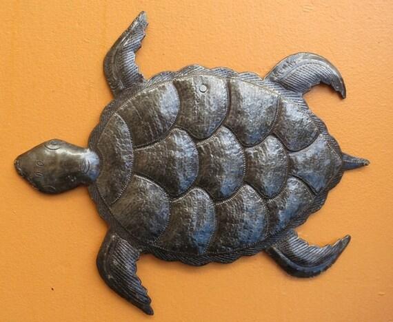 "Sea Turtle Metal Wall Art, Swimming Left, Ocean, Beach, Recycled Steel Haiti large turtle 12"" x 10"""