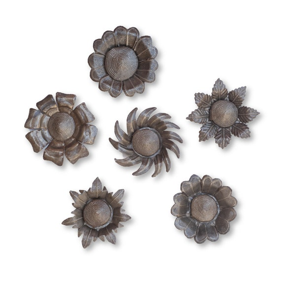 Six Beautiful Single Flowers Made From Recycled Haitian Metal, One-of-a-Kind Art