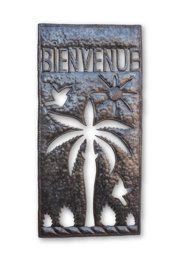 Bienvenue, Quality Haitian Welcome Sign, Unique Recycled Metal Art 11.5x23