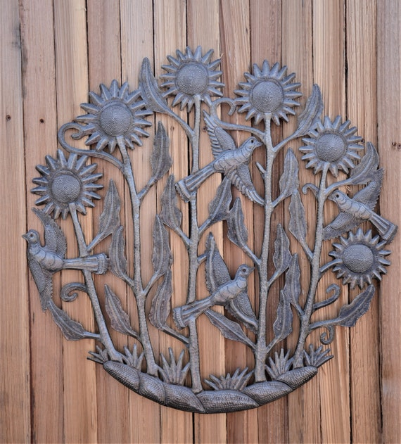 """Sunflowers and birds, Intricate detail sculpture from Haiti, Inside and outside home decor 23"""" x 23"""""""