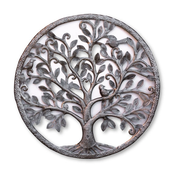 Haitian Metal Sculpture, Framed Tree of Life, Handcrafted One-of-a-Kind Home Decor,  23x23in.