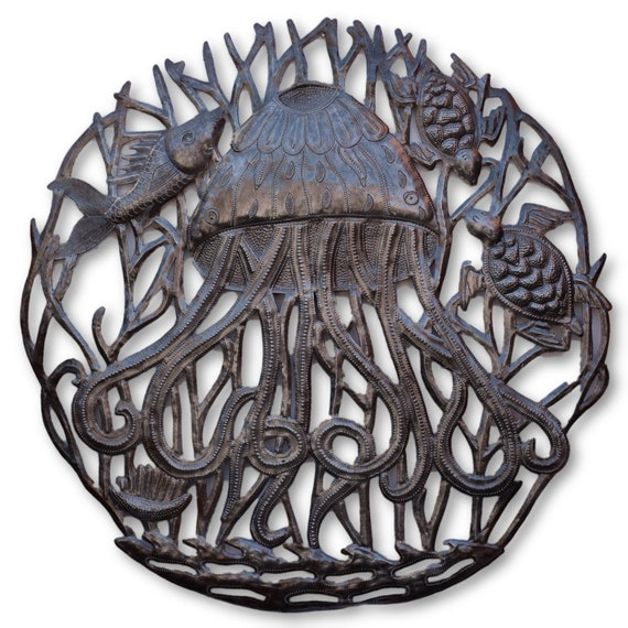 Jellyfish in the Sea, Beautifully Handcrafted Nautical Sculpture, One-of-a-Kind 23.5x23.5