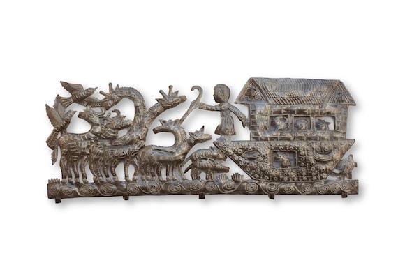 Noah's Arc Coat Rack, One-of-a-Kind Haitian Home Furniture Decor, 34x13