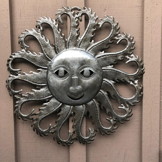 Sun with Flaming Rays, Metal Wall Art, Decorative Home Decor, Handmade in Haiti, 22.5x22.5
