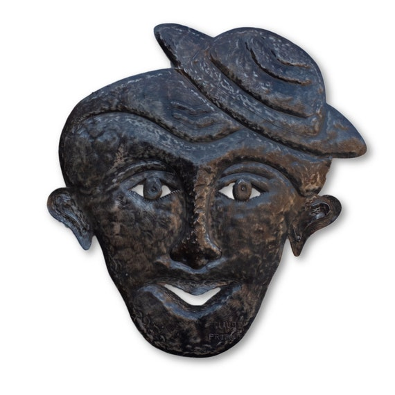 Elevated Mask of Man, Quality Haitian Metal Sculpture, One-of-a-Kind 23x23